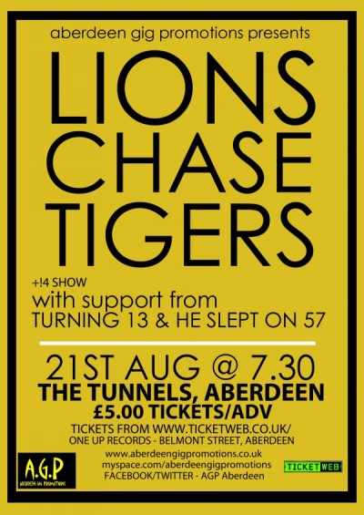 Lions.Chase.Tigers - The Tunnels, Aberdeen