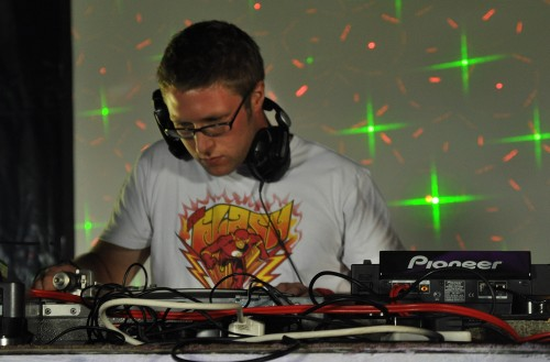 DJ type bloke at work