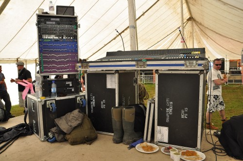 Sound desk, inc food and wellies